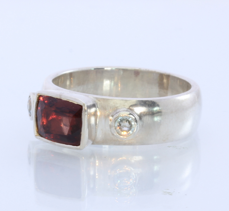 Blue Zircon and Red Spinel Handmade Silver Solitaire Lady Ring #1522 Size 10.75