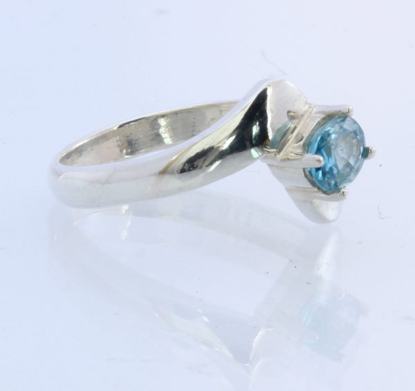 Sparkling Sky Blue Zircon Handmade 925 Silver Stackable Unisex Ring #1528 Size 7