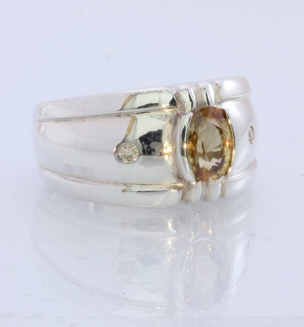 Natural Sparkling Yellow Zircon Handmade Sterling Silver Unisex Ring#1529 Size 7