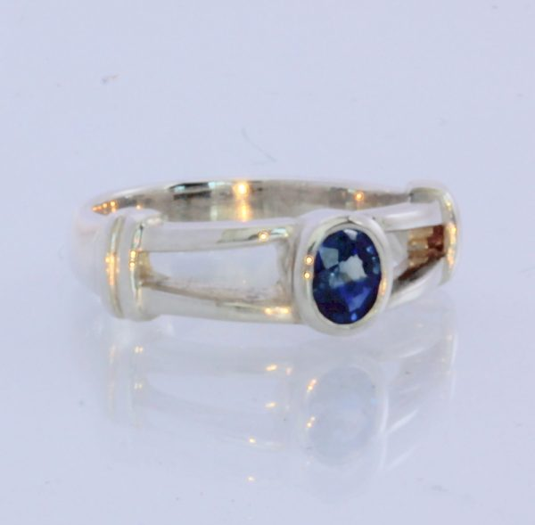 Natural Deep Blue Sapphire Handmade Sterling Silver Ladies Ring #1531 Size 5.5