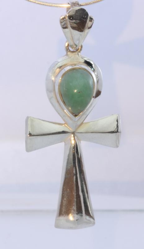 Australian Blue Opal Handmade Egyptian Ankh Cross Sterling Silver Unisex Pendant
