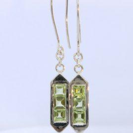 Natural Peridot Handmade Sterling Silver Ladies Pair of Shepherds Hook Earrings