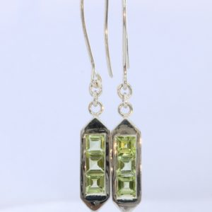 Natural Peridot Handmade Sterling Silver Ladies Pair of Shepherds Hook Earrings