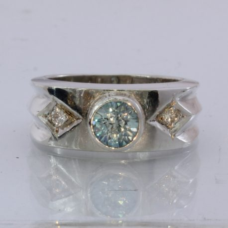 Natural Blue and White Zircon Handmade Sterling Silver Gents Ring size9.75