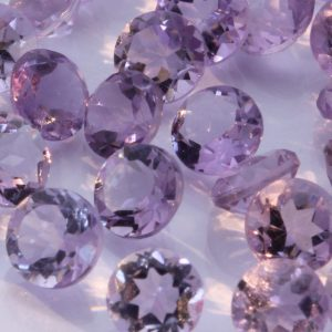 One Amethyst 5 mm Faceted Round Accent Gemstone VS Clarity Average .45 carat