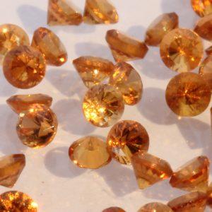 One Orange Spessartine Garnet Faceted 2 mm Round Gemstone Averages 0.20 carat