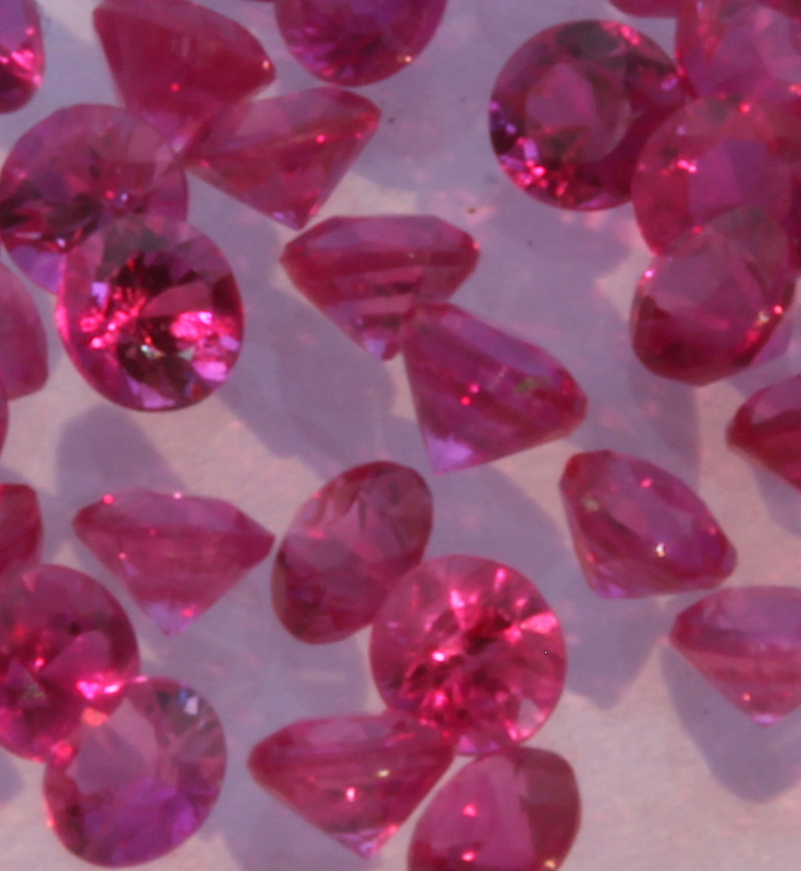 One Ruby Traditional Way Heated Only Well Faceted 2.2 mm Round Accent Gem Averages .05 carat