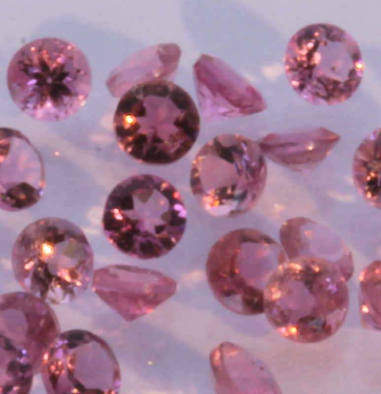 One Pink Tourmaline Eye Clean Well Faceted 2.0 mm Round Gem Averages .03 carat