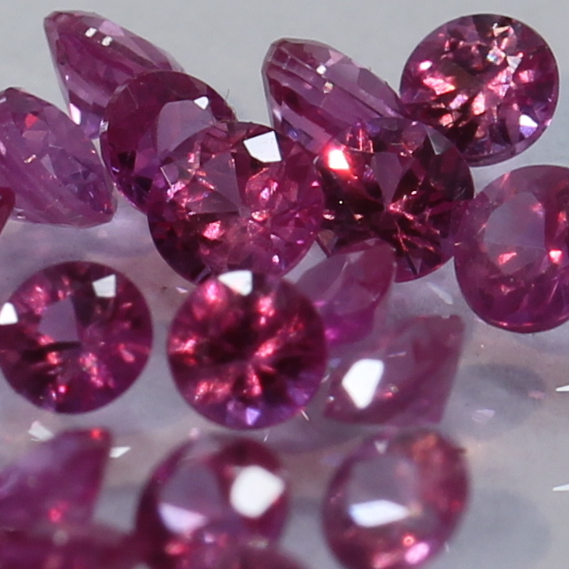 One Red Spinel Mogok Burma Faceted Rounds 2.3 mm Accent Gem Averages .06 carat