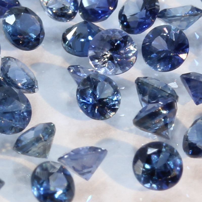 One Blue Sapphire Natural Faceted 2 mm Round Accent Gemstone Average .07 carat