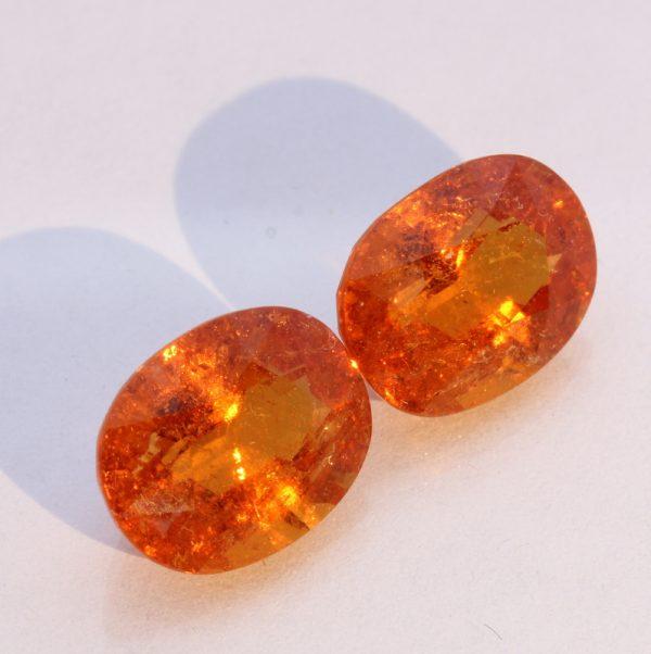Fanta Orange Spessartite Garnet Pair Faceted Oval Gemstones 9.45 total carat