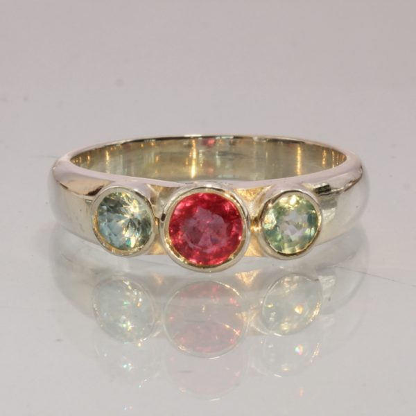 Red Ruby Blue Zircon Handmade Sterling Silver Ladies Three Stone Ring size 9.25
