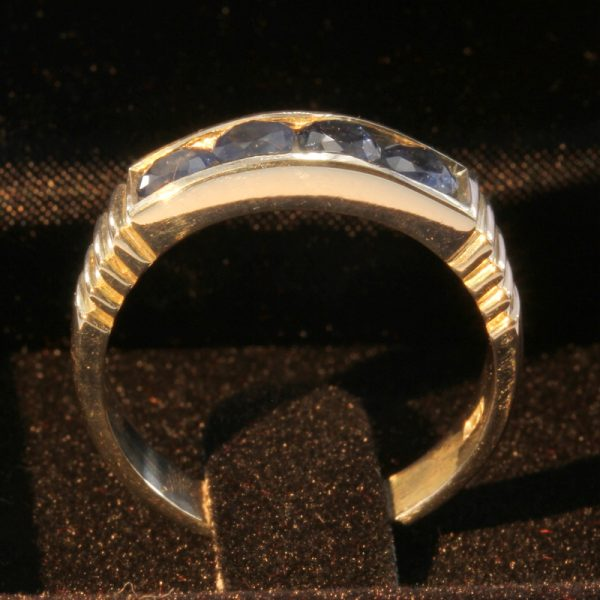 African Blue Sapphire Handmade Sterling Silver Channel Set Unisex Ring size 9