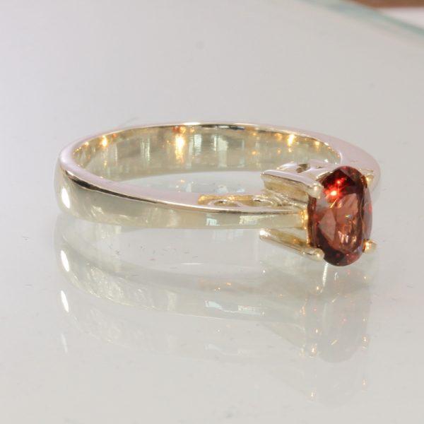 Burma Orange Red Spinel Handmade Silver Ajoure Filigree Ladies Ring size 7.75