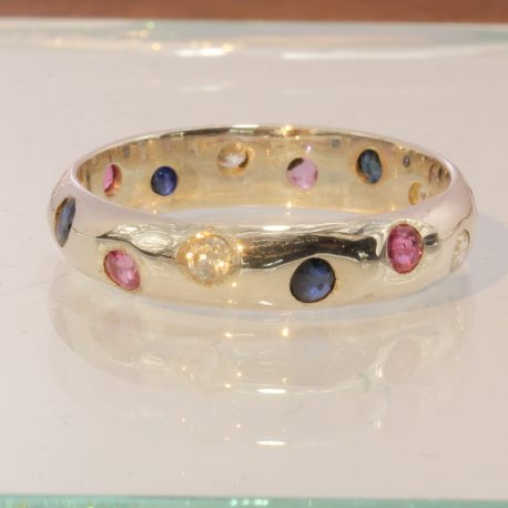 Red Ruby Blue Sapphire White Zircon Handmade 925 Silver Unisex Band Ring size 11