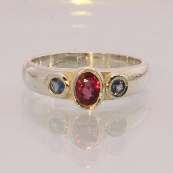 Red Ruby Blue Sapphire Handmade Sterling Silver Ladies Three Stone Ring size 7