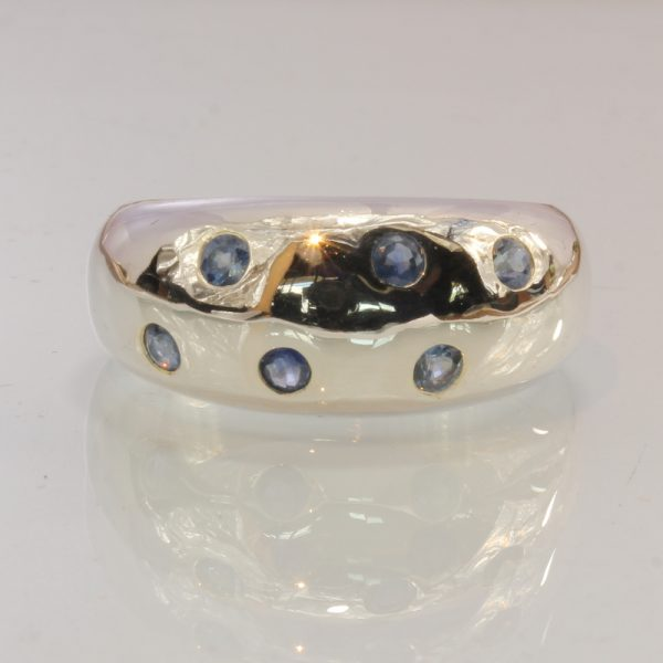 African Blue Sapphire Handmade Sterling Silver Gents Ladies Unisex Ring size 10