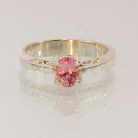 Burma Pink Spinel Gemstone Handmade Silver Ajoure Filigree Ladies Ring size 4.75