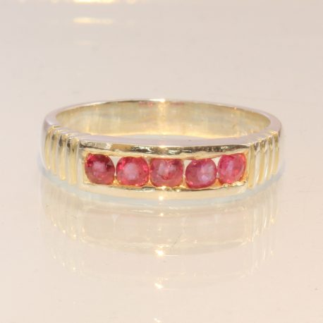 Cambodian Pink Ruby Handmade Sterling Silver Channel Set Unisex Ring size 8.25