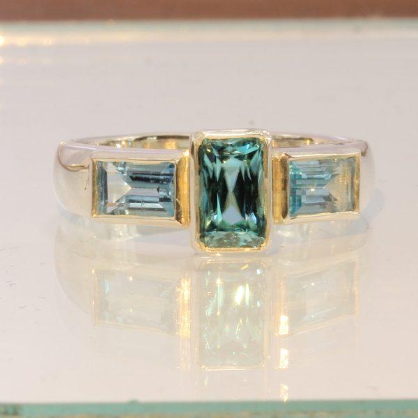Cambodian Windex Blue Zircon Handmade 925 Silver Ladies Three Stone Ring size 9