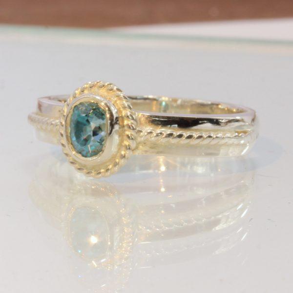 Cambodian Windex Blue Zircon Handmade 925 Silver Unisex Filigree Ring size 9