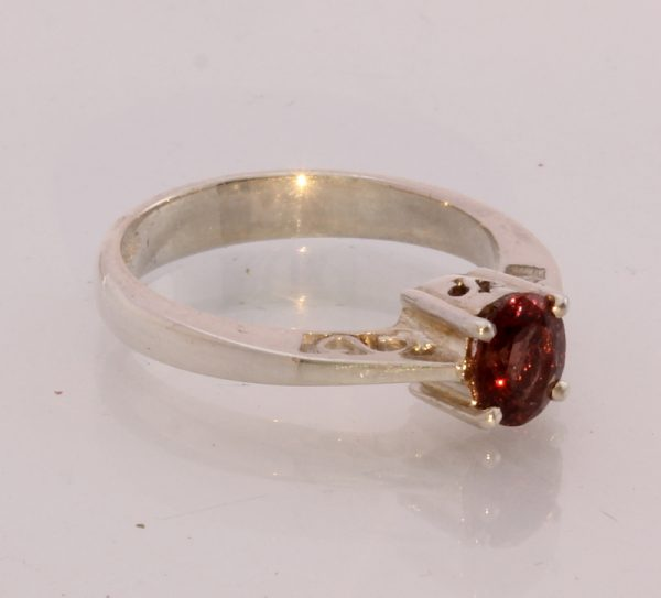 Natural Red Spinel Handmade Sterling Silver Stackable Ladies Ring size 7.5