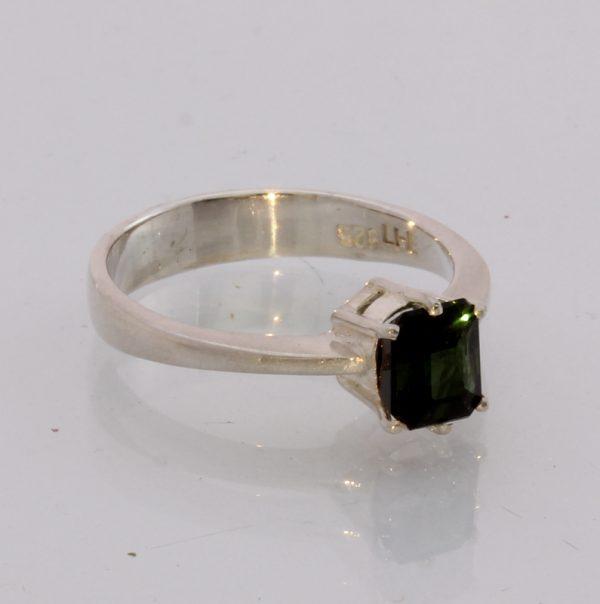 Natural Dark Green Tourmaline Handmade Sterling Silver Ladies Ring size 7.5