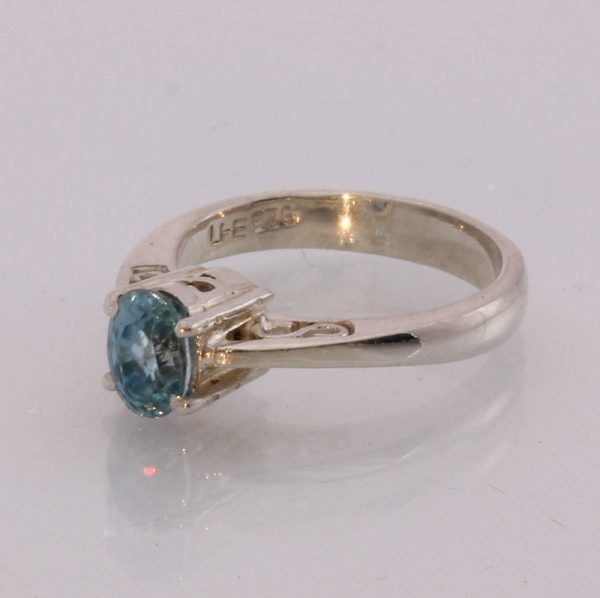 Natural Blue Zircon Handmade 925 Silver ajoure filigree Ladies Ring size 5.5
