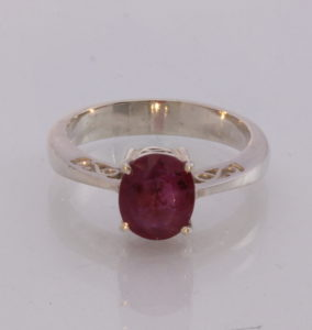 Natural Red Ruby Handmade Sterling Silver Ajoure Filigree Ladies Ring size 9.25