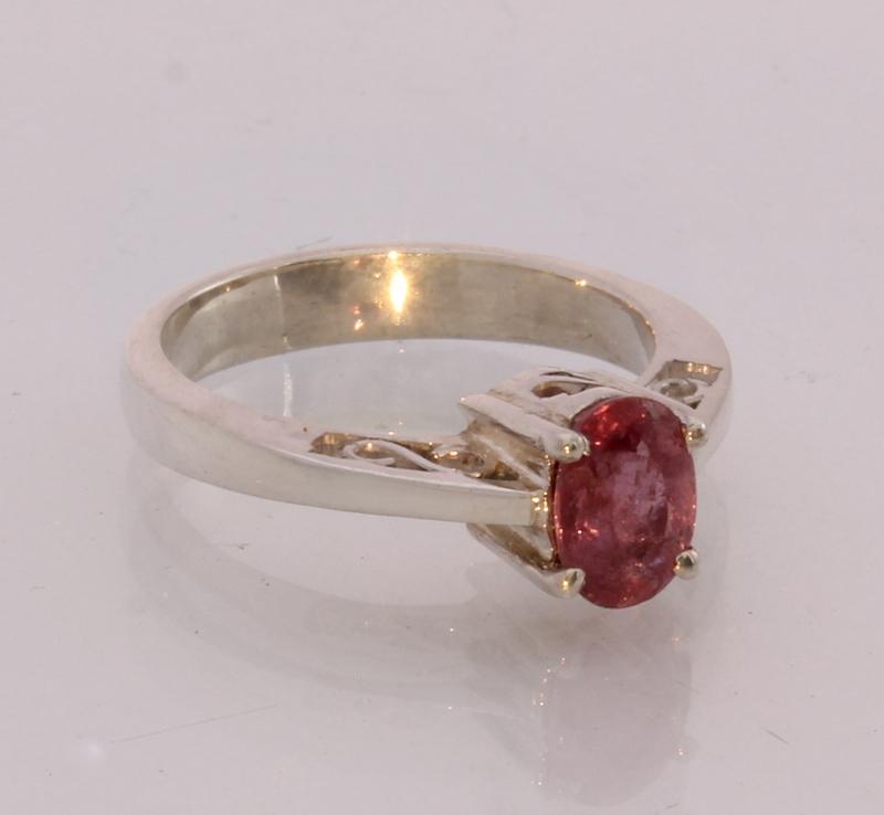 Pink Tourmaline Gemstone Handmade Silver Ajoure Filigree Ladies Ring size 5.25