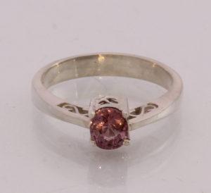 Natural Pink Spinel Handmade Sterling Silver Unisex Ajoure Filigree Ring size6.5