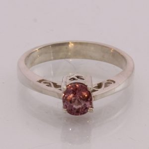Natural Pink Spinel Handmade Sterling Silver Unisex Ajoure Filigree Ring size6.5
