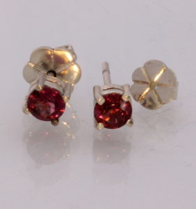 Pinkish Red Spinel Rounds Handmade Sterling Silver Studs Ladies Post Earrings