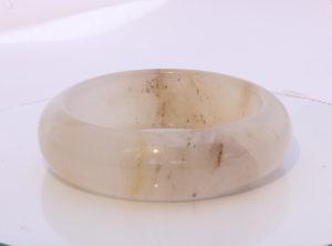 58.3mm White QuartzChalcedony Stone Bangle Comfort Cut Bracelet 7.21 inch