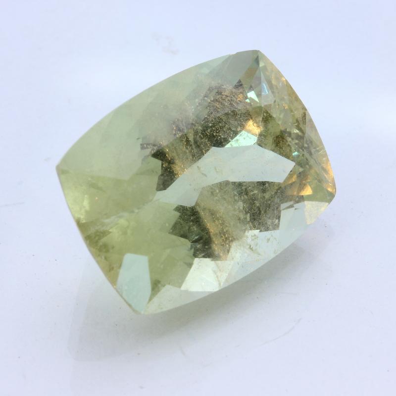 Light Yellow Green Beryl Aquamarine Faceted 20x15 Cushion Gemstone