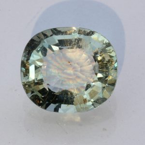 Aquamarine Light Green Beryl Faceted Oval Unheated Natural Gemstone 4.95 carat