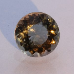 Golden Peach Oregon Shiller Sunstone Precision 7.3 mm Round Gemstone 1.29 carat