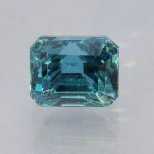 Windex Blue Zircon Rectangular Octagon Cambodian Sparkling Gemstone 4.66 carat