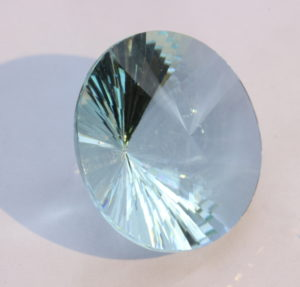 Oligoclase Light Greenish Blue Precision Faceted Round Natural Gem 15.22 carat