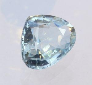 Aquamarine Light Blue Green Beryl Faceted Pear Cambodian Gemstone 1.48 carat