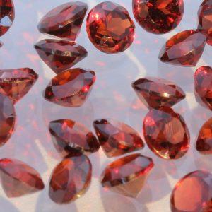 One Red Rhodolite Garnet Faceted 3.5 mm Round Accent Gemstone Average .22 carat