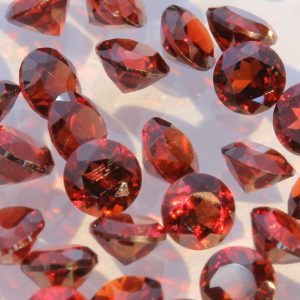 One Red Rhodolite Garnet Faceted 3.5 mm Round Accent Gemstone Average .22 carat