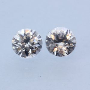 Pair of Colorless White Zircon Faceted 6.2 mm Round Diamond Cut Gems 2.59 carat