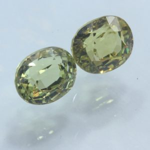 Pair Mali Garnet Golden Yellow Matched Ovals Two Faceted Gems 2.78 carat total
