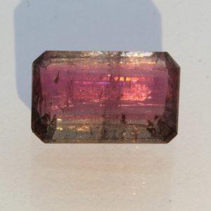 Bi-color Pink Purple Blue Green Tourmaline Faceted Rectangle Octagon 3.96 carat