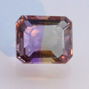 Bolivian Ametrine Yellow Purple Quartz Faceted Rectangular Octagon 5.66 carat