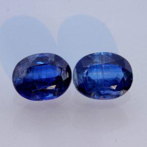 Pair Royal Blue Kyanite Ovals Two Untreated Natural Gemstones 6.68 carat total