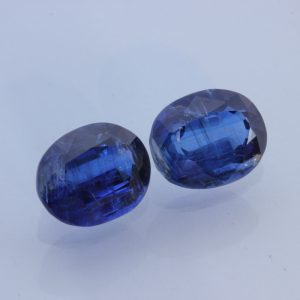 Pair Royal Blue Kyanite Ovals Two Untreated Natural Gemstones 6.68 carat total