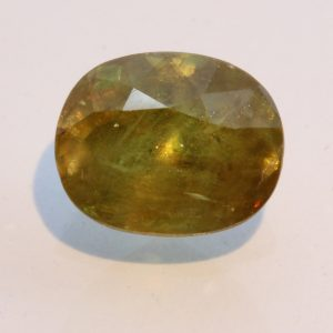 Yellow Green Sphene Faceted 10 x 8 mm Oval Untreated Titanite Gem 3.39 carat