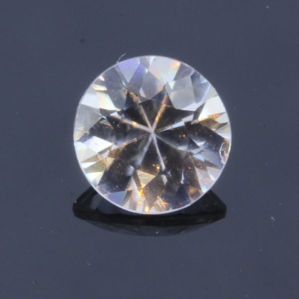 Natural Colorless White Zircon Faceted 6.4 mm Round Diamond Cut Gem 1.42 carat